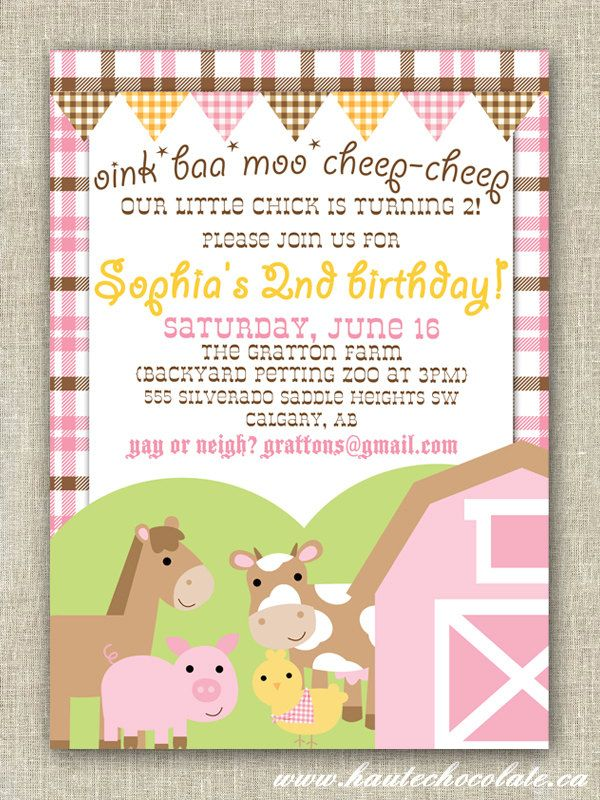 Barnyard Birthday Invitation Pink Girl Farm Birthday Print It