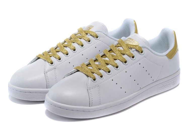 premium selection d148b b92b1 hombres mujer Adidas Originals Stan Smith Zapatos Casual Trainers Blanco  Oro…