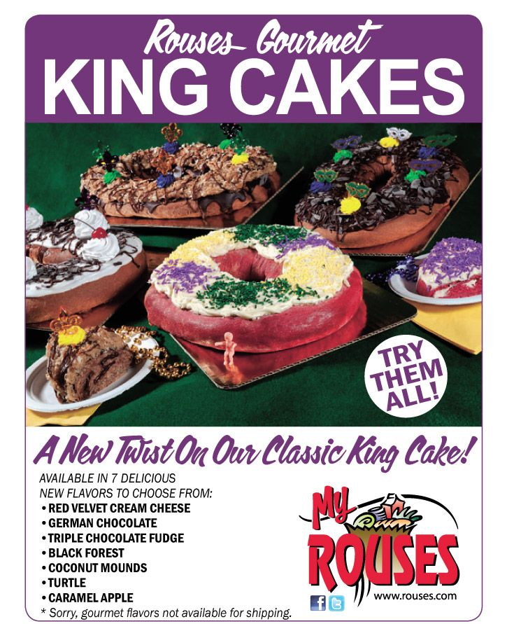 Rouses Gourmet King Cakes Red Velvet Cream Cheese German Chocolate Triple Fudge