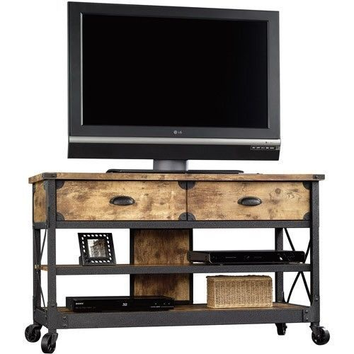 Tv Stand Rustic Table Console Media Cabinet Pine Wood