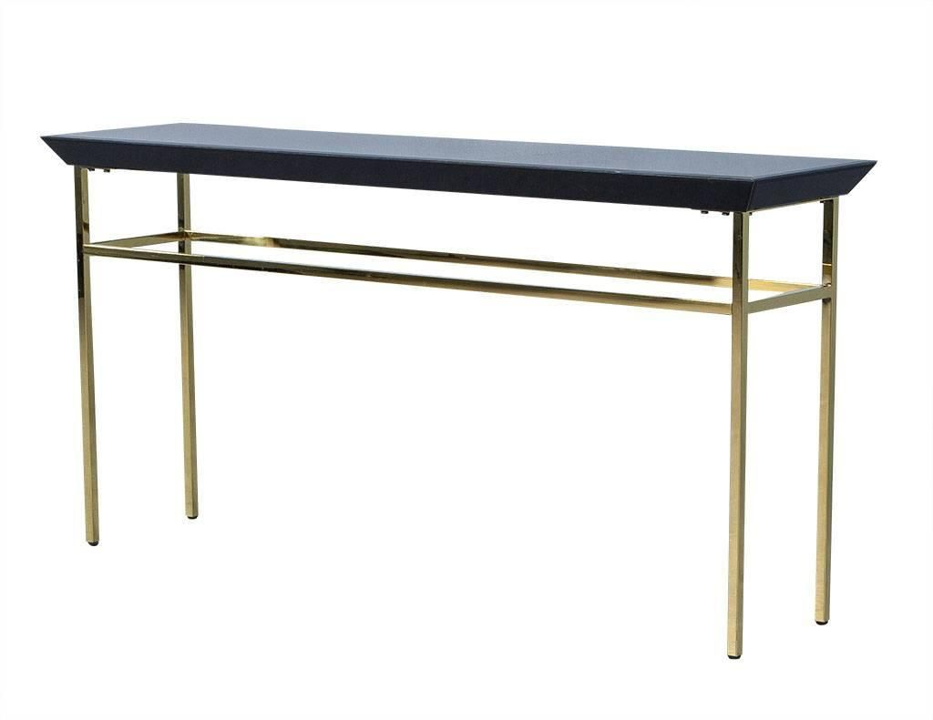 Black glass and gold metal console table black glass black glass and gold metal console table geotapseo Gallery