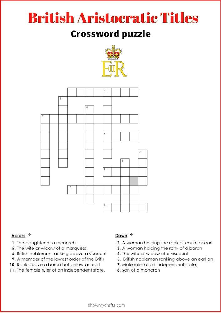 Try this free printable crossword puzzle about royal titles #royaltitles #british #crossword #crosswordpuzzles  #royalfamily #printable #printablesforkids