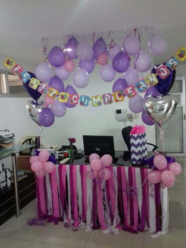 Office birthday cumpleaos oficina decoracin escritorio