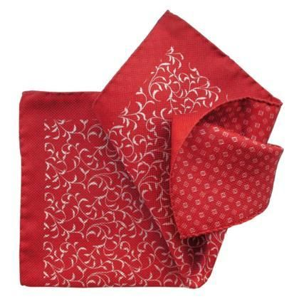 Red, Double-Printed, Italian Collection - 100% Silk Pocket Square – Styles By Kutty #pocketsquares