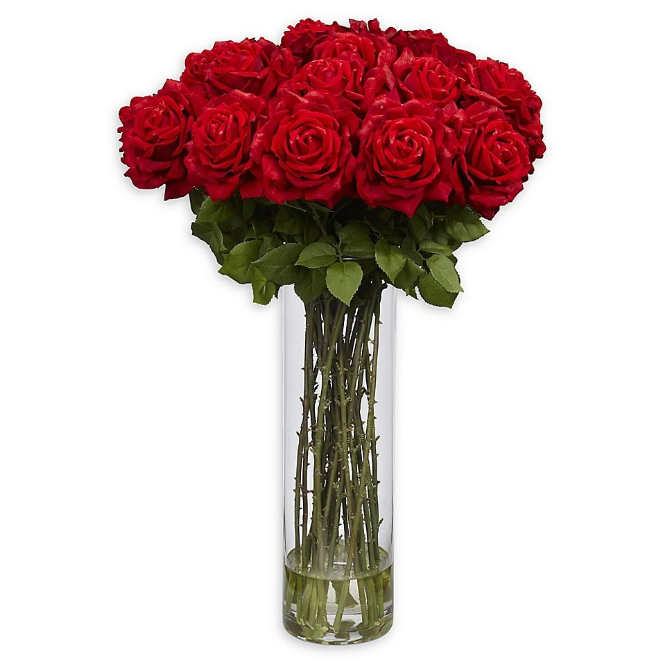 Nearly Natural Giant Rose Arrangement With Glass Vase Bed Bath Beyond In 2020 Rose Flower Arrangements Rose Floral Arrangements Rose Arrangements