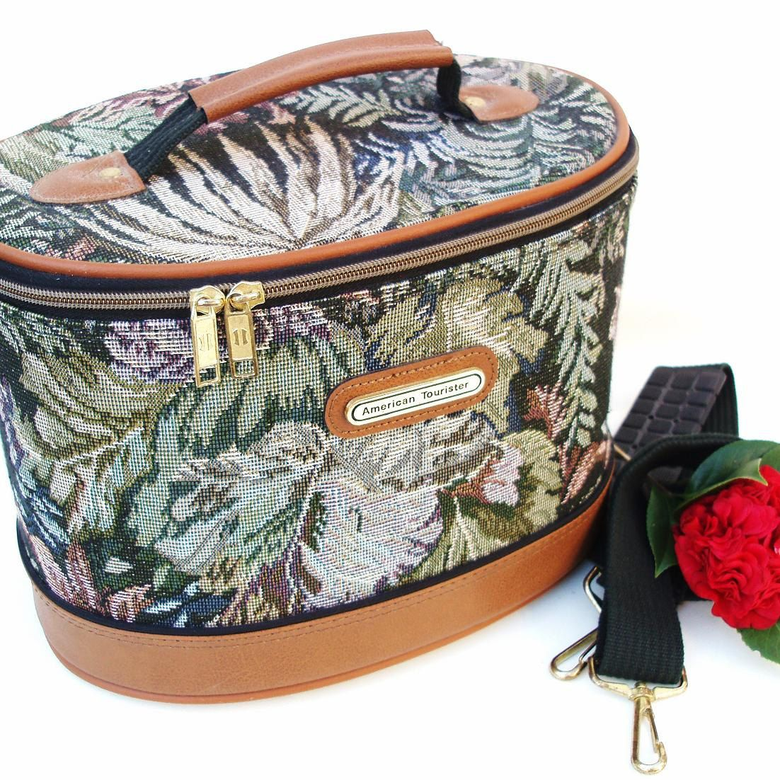 Vintage Tapestry Bag American Tourister Train Case