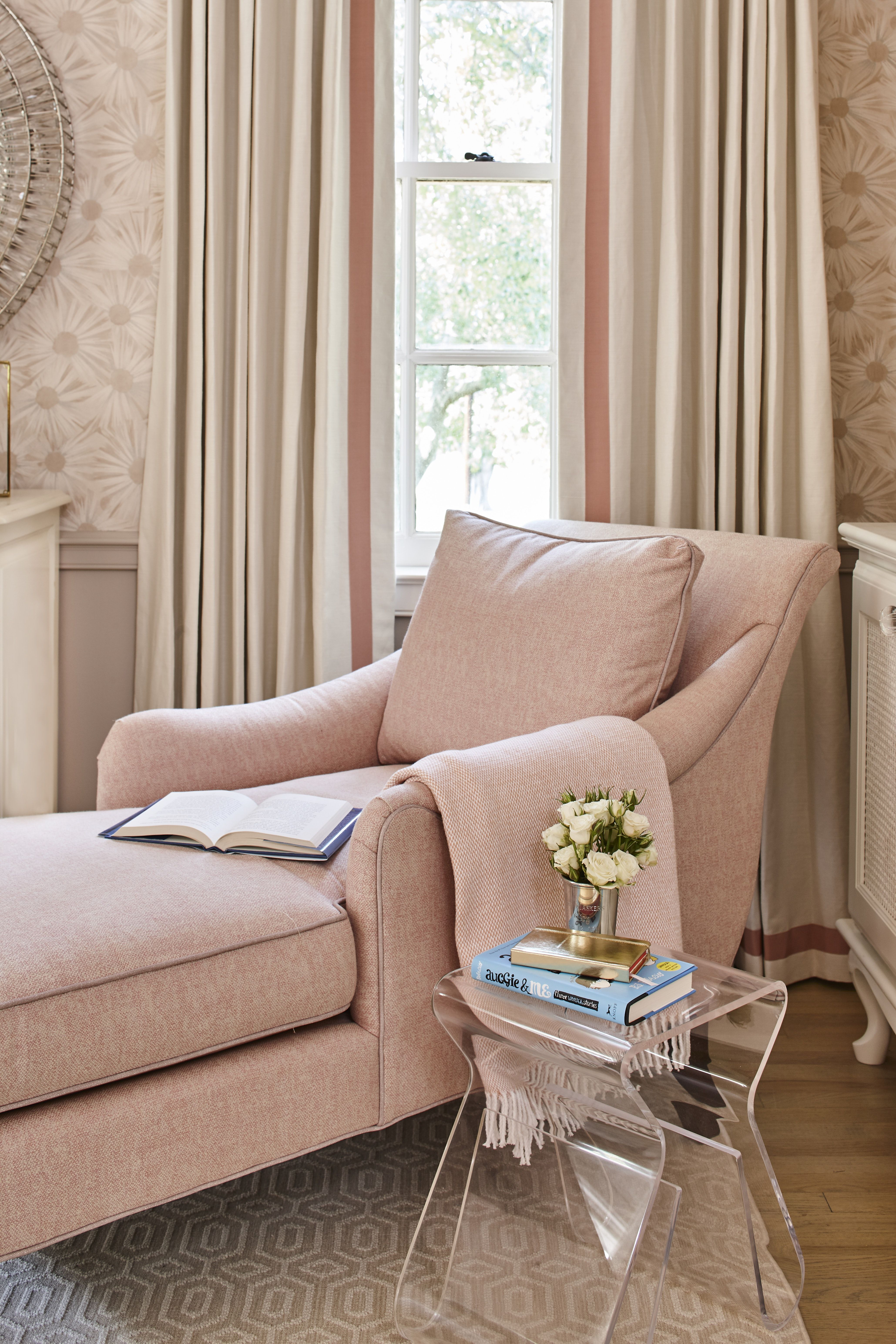 Pink Sitting Room Lounge Chair Flowers Wall Paper By Ashley Gilbreath Interior Design