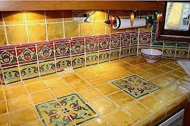 Delicieux Hand Painted Mexican Tile Countertops. Example Of Tile Placement For The  Outside Kitchen Bar Area