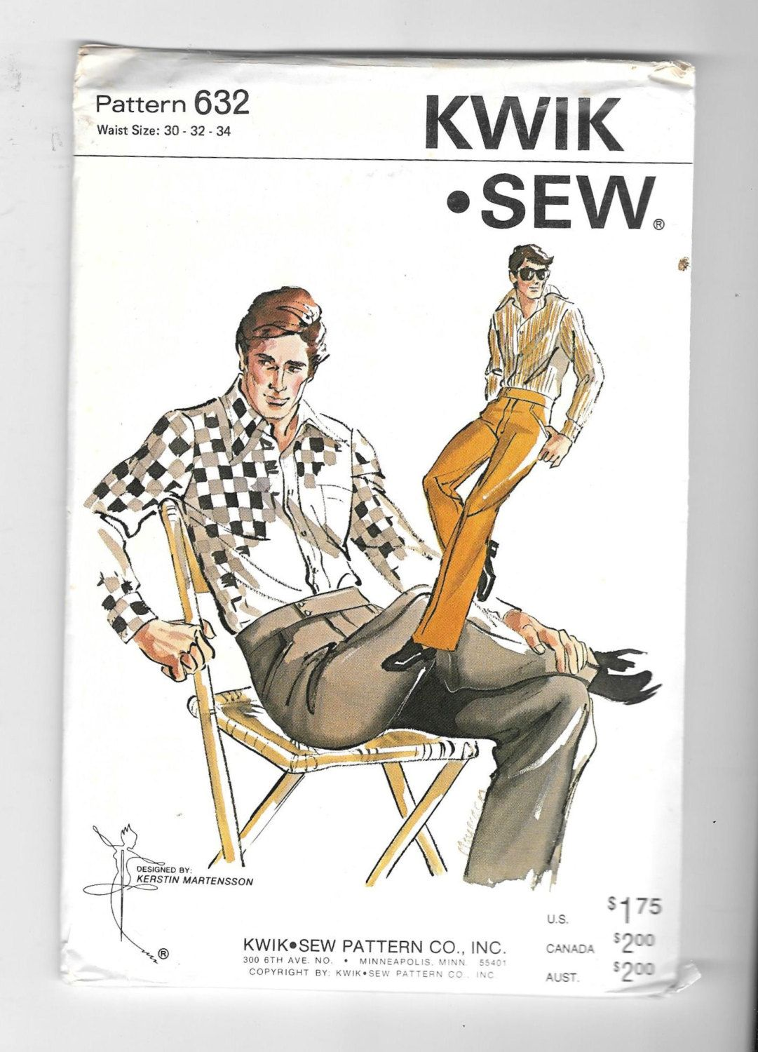 Vintage Men Size 30-34 Straight Leg Pants Kwik Sew Sewing Pattern ...