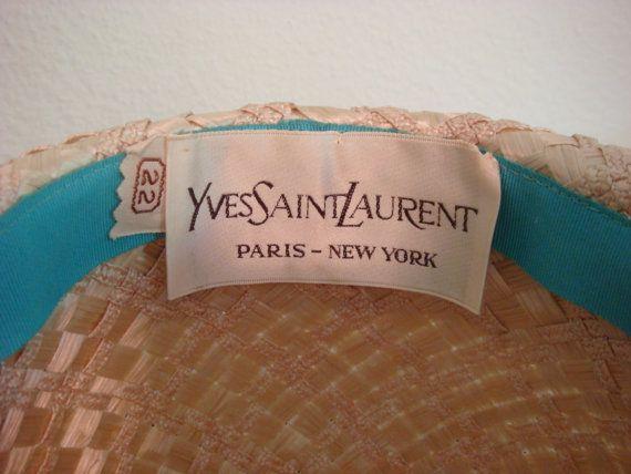 Vintage Hat Couture Yves Saint Laurent Straw By Decadencefashion 75 00 Hats Vintage Yves Saint Laurent Saint Laurent