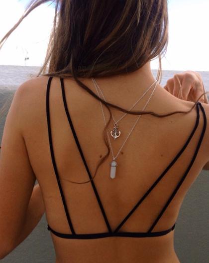 Hot Women Lady Body Chain Harness Bikini Shirt Velvet Up Bra Pendent Necklace UK