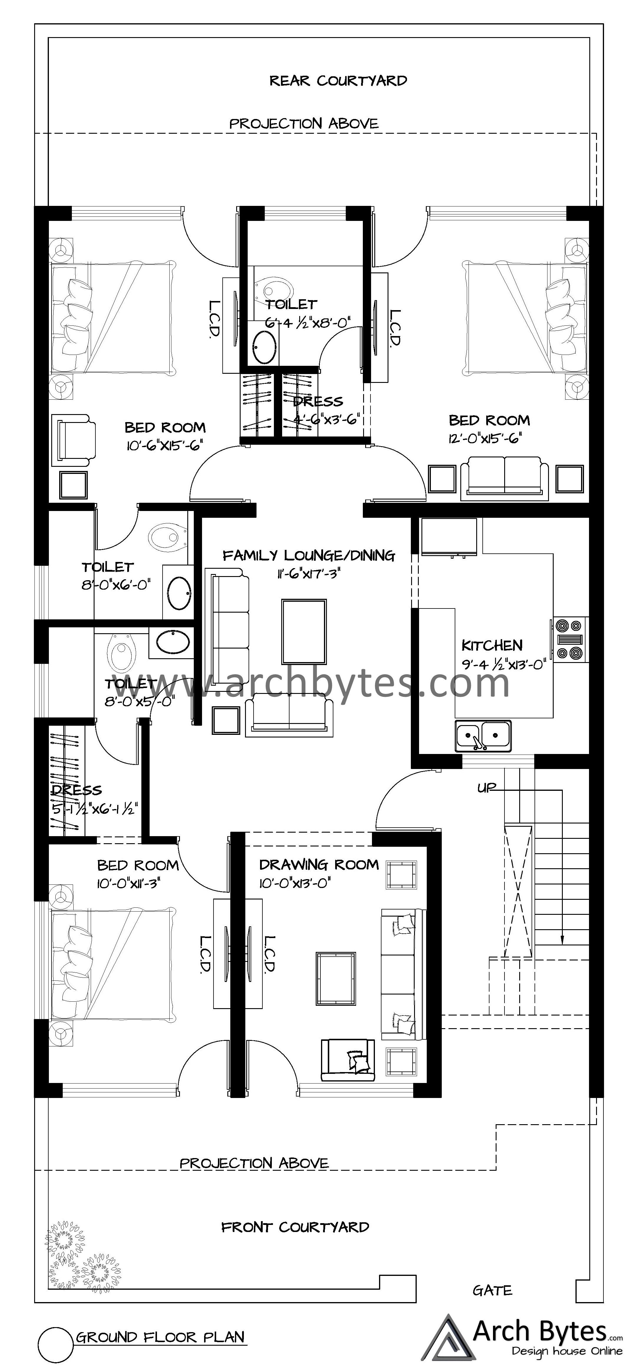 House Plan For 31x70 Feet Plot Size 241 Square Yards Gaj House Plans Four Bedroom House Plans Free House Plans