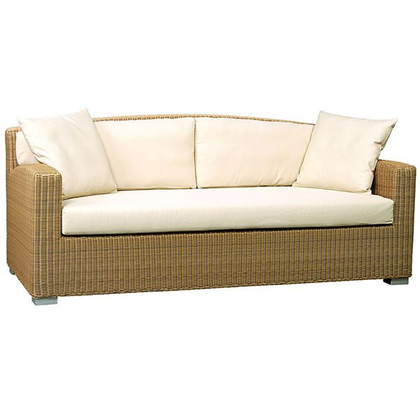 This Synthetic Rattan Sofa Has Teak Legs And Arms The Combination Of Wicker And Wood Looks Tasteful And Chic Please Note That We Include The Mattress On This