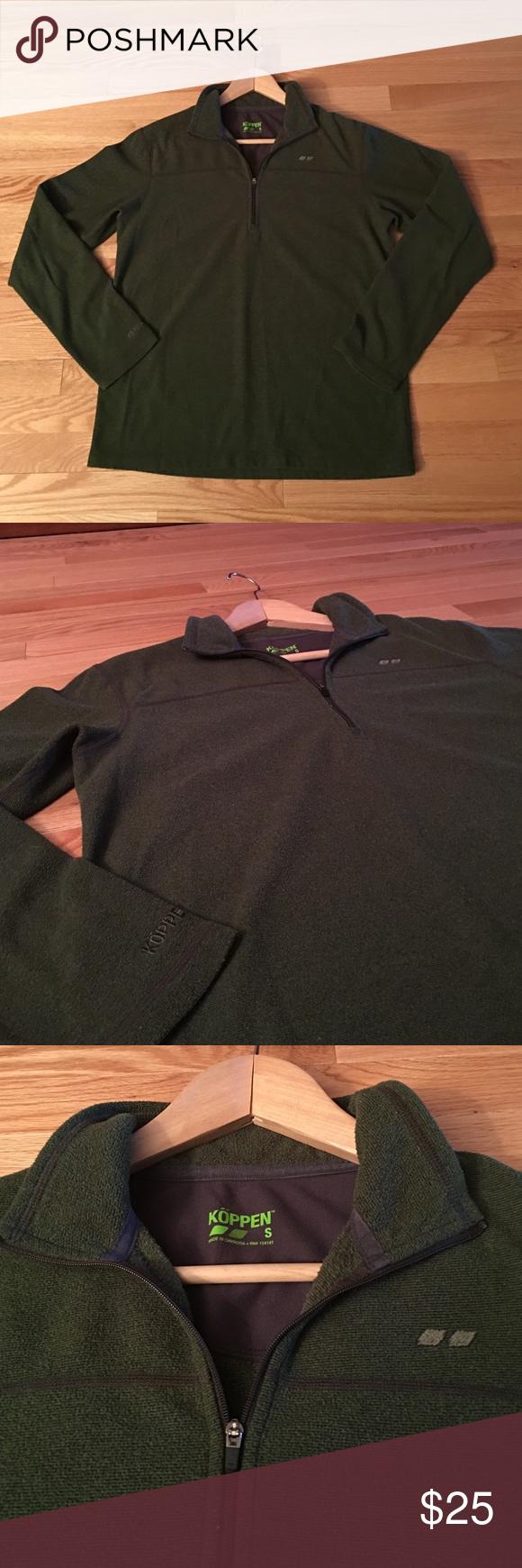 Köppen Light Weight Pullover Hunter green knit/fleece like material quarter zip pullover. Good condition. 100% Polyester. Köppen Shirts Sweatshirts & Hoodies
