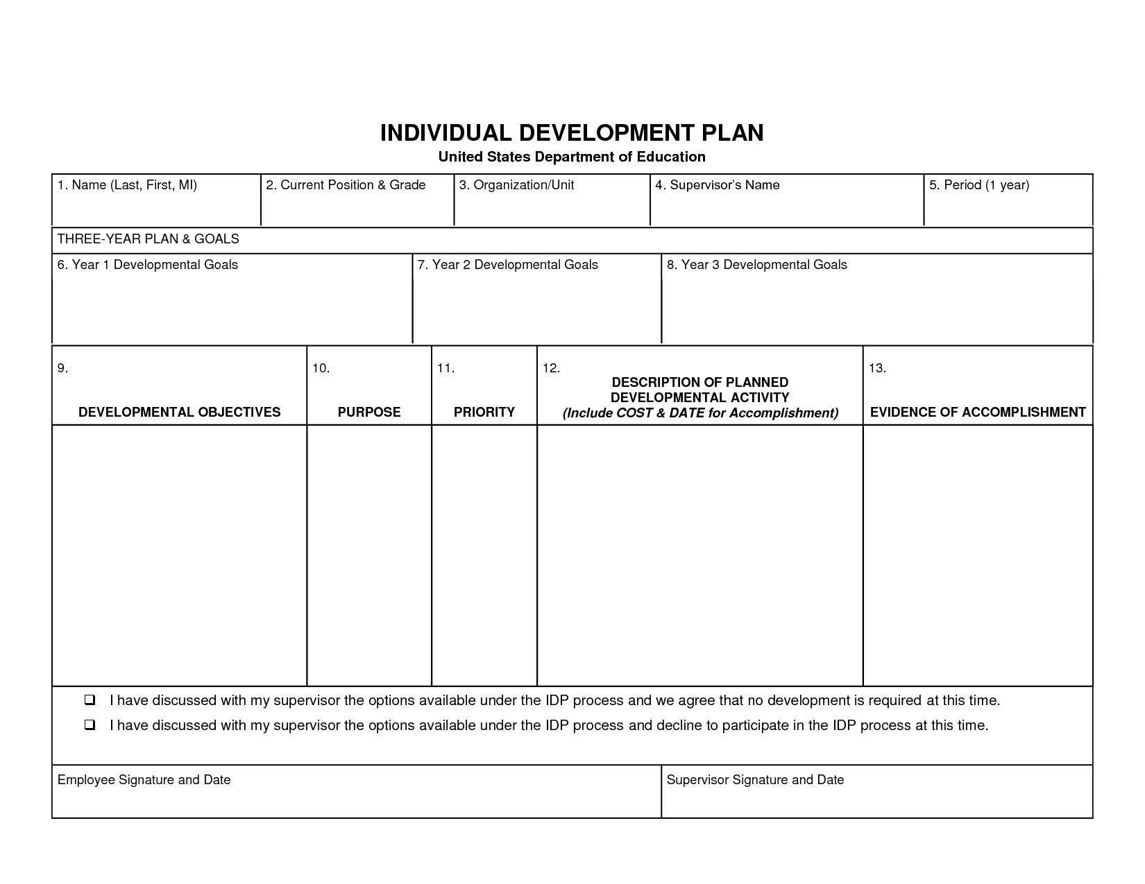 Individual Development Plan Template Word