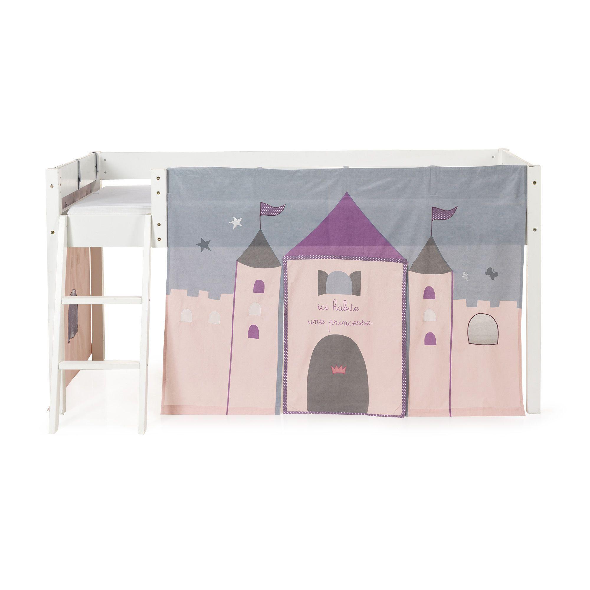 tente de lit mi haut pour enfant rose et gris princesse les lits - Lit Haut