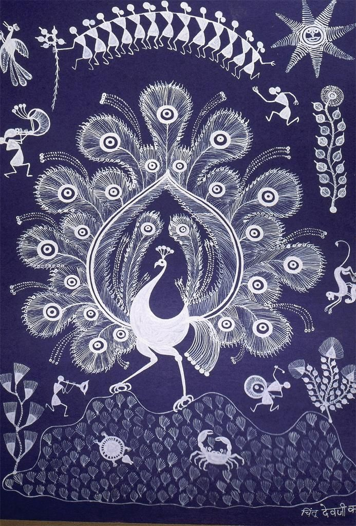Warli painting peacock varli paintings pinterest peacocks warli painting peacock thecheapjerseys Image collections