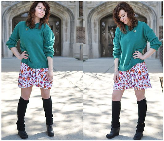 Forever 21 Floral Strapless Dress, Jeffery Campbel Wedges, Good Will Knit Sweater