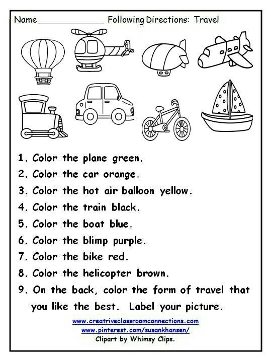 Following directions with color words is a fun practice activity ...
