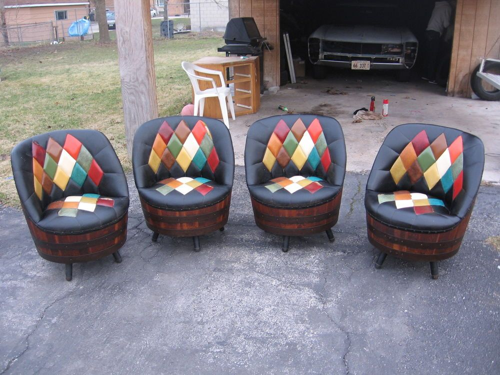1940s Set Of 4 Whiskey Barrel Argyle Pattern Swivel Chairs