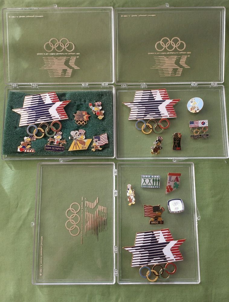1984 los angeles 23rd olympiad olympics lot of 18 souvenir pins with cases from $27.95