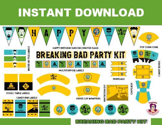 breaking bad heisenberg kit de fiesta en ingls descarga inmediata breaking bad birthday breaking bad party supplies english de susanedaprintables en