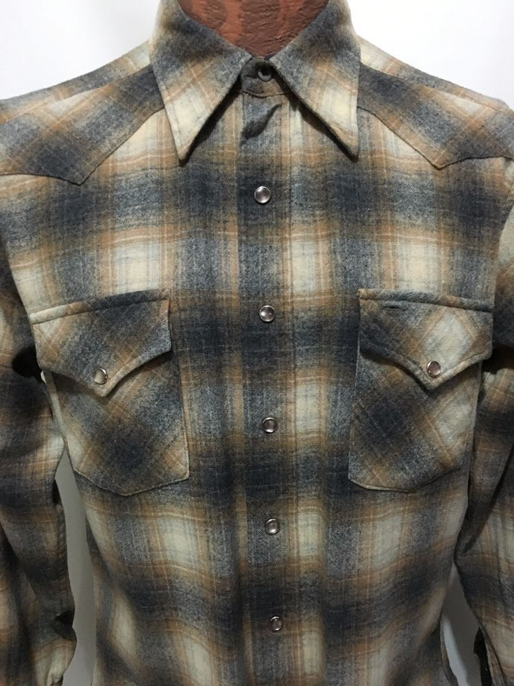 Pendleton Snap Front Plaid Cowboy Western Wool Flannel