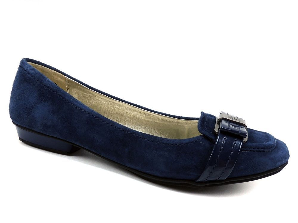 73d5aaf41e5 Anne Klein Women s Heida Driving Moccasin Loafers Navy Blue Suede Size 8.5 M   AnneKlein  LoafersMoccasins  Casual