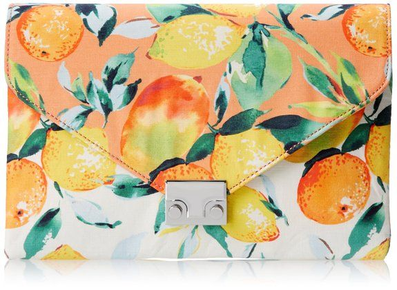 LOEFFLER RANDALL Accessories Lock Clutch Clutch,Citrus/White,One Size
