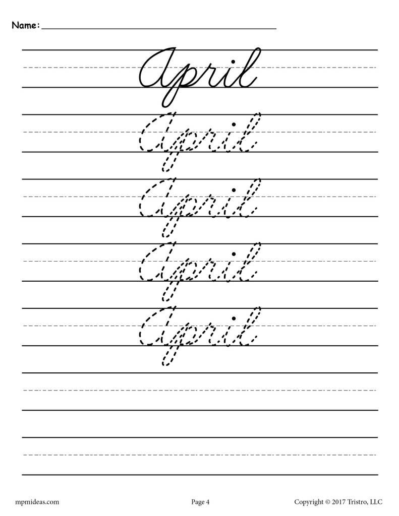 medium resolution of 12 Months of the Year Cursive Handwriting Worksheets!   Cursive handwriting  worksheets