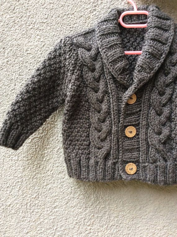 4212b3f4a07a Grey Knitted Baby Cardigan