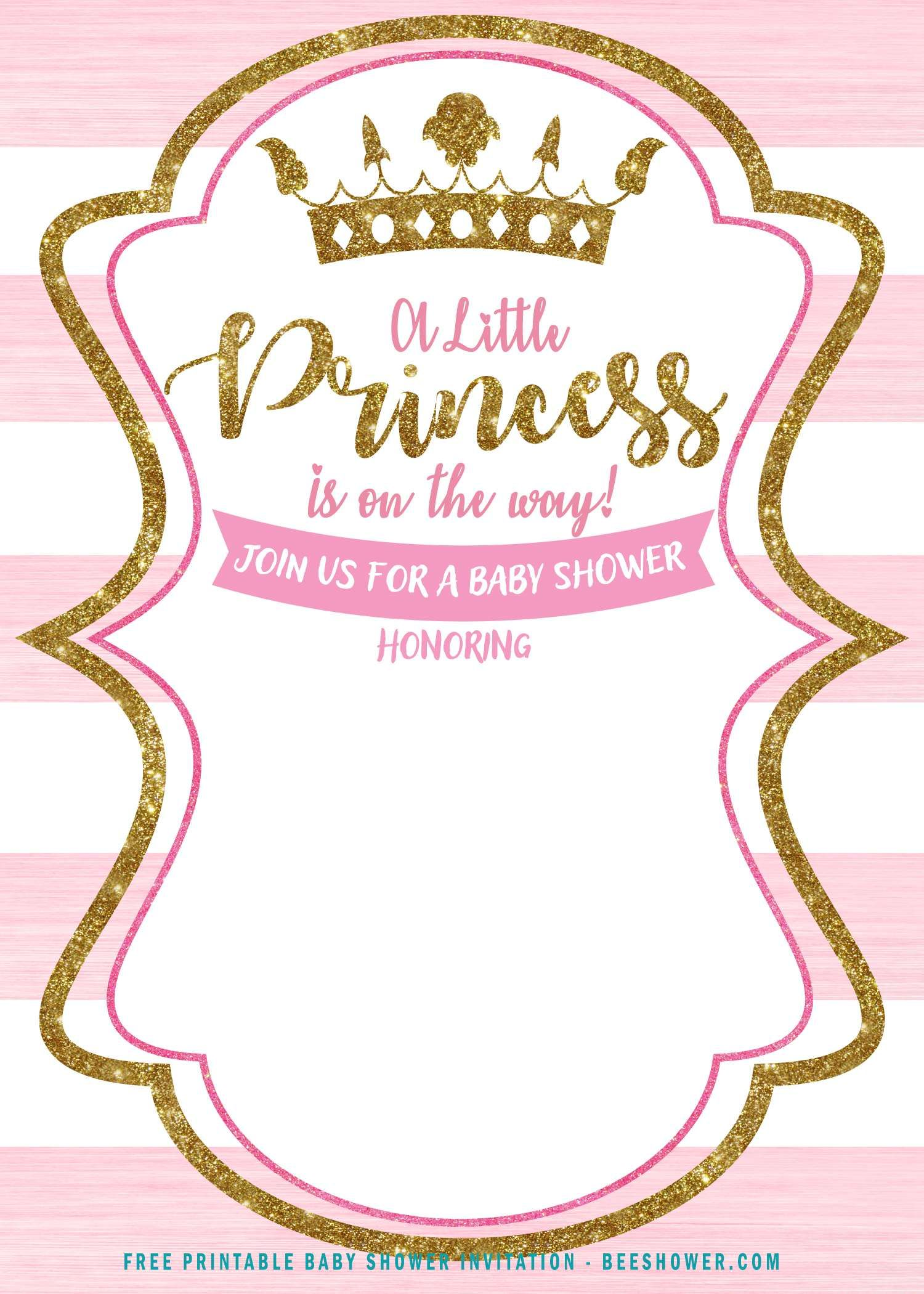 Free Pink And Gold Princess Baby Shower Invitation Free Pr Princess Baby Shower Invitations Free Princess Baby Shower Invitation Free Baby Shower Invitations