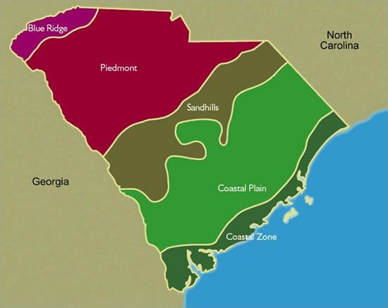 South Carolina Regions COMMUNITY Pinterest Social Studies - Map of the carolinas usa