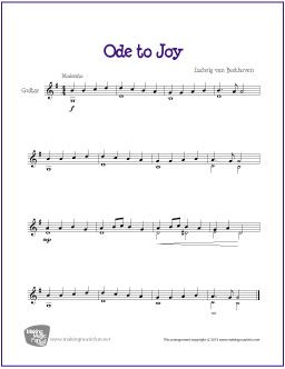 What is the chord progression for the ode to joy melody?