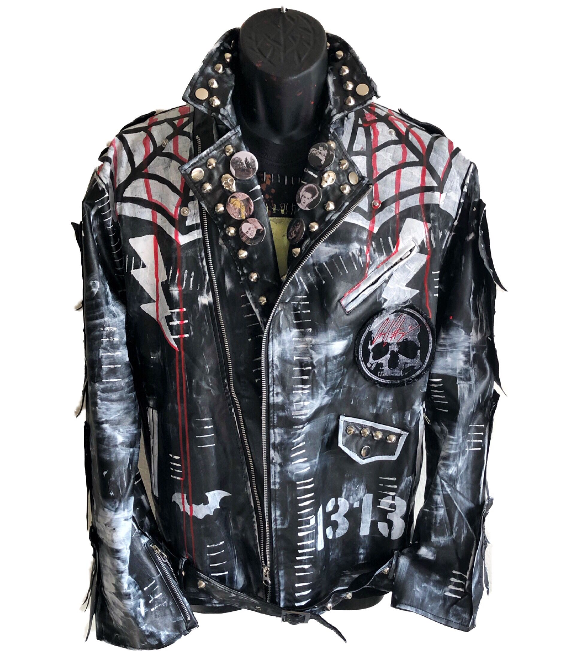 Horror Classic Jacket By Chad Cherry Etsy Punk Outfits Battle Jacket Classic Jacket [ 2205 x 1920 Pixel ]