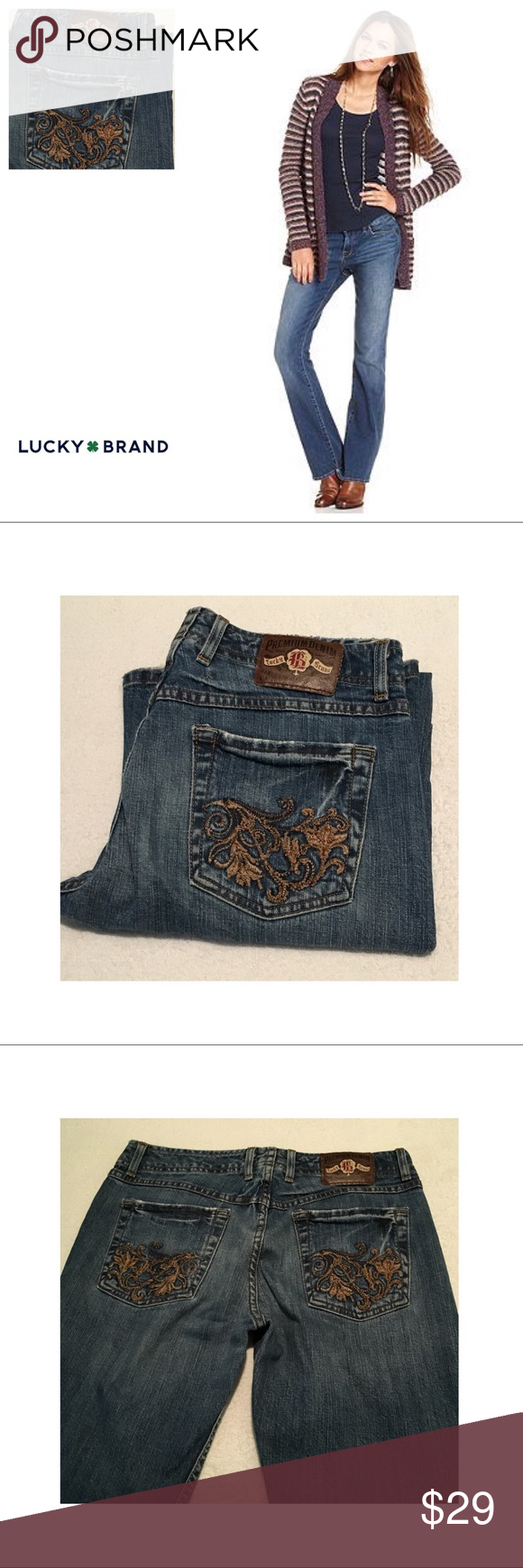 Lucky Flora Wonder embroidered jeans. 27☘️