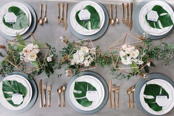 14 geometric wedding table decor ideas leaves wedding designs and 14 geometric wedding table decor ideas junglespirit Images