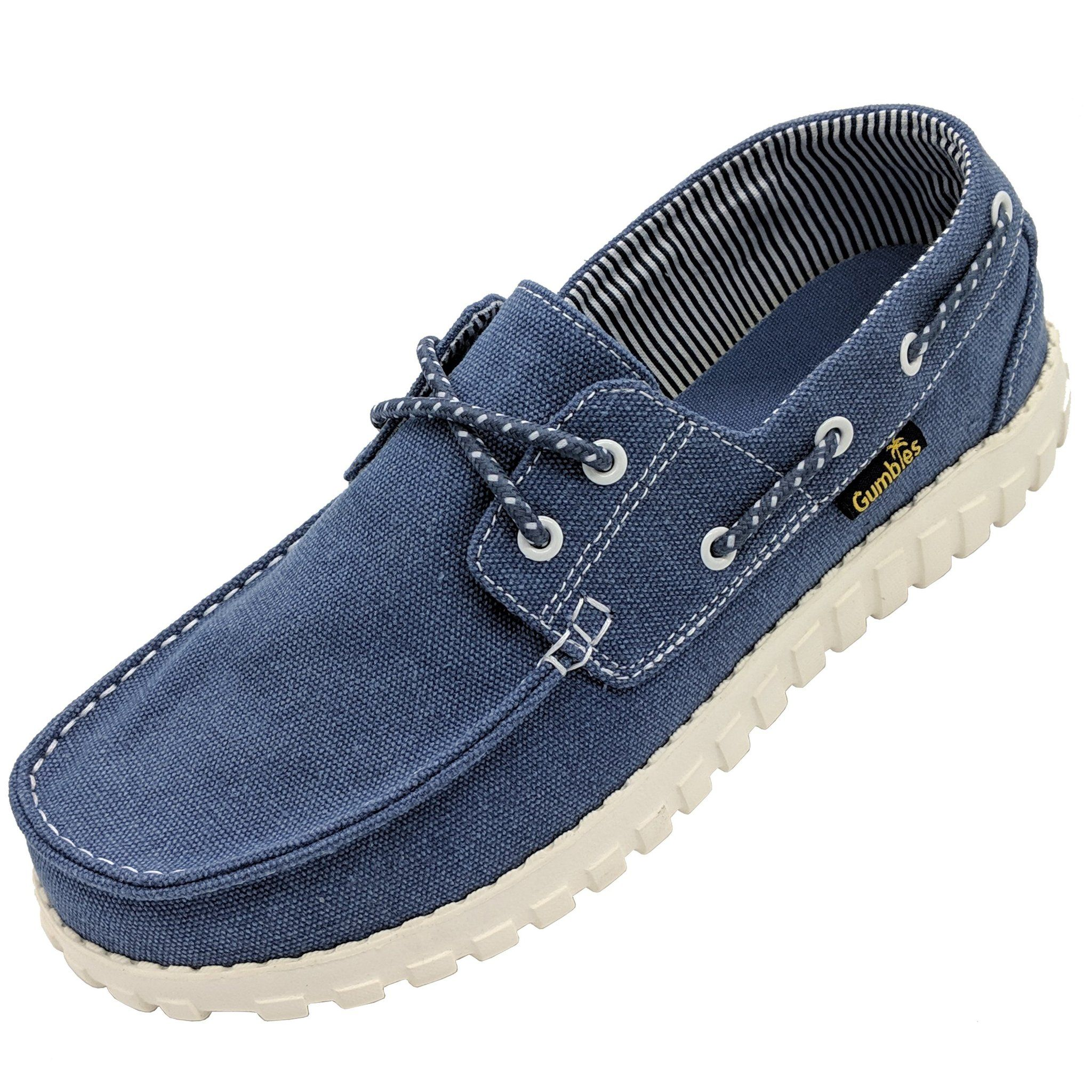 Gumbies Deck Mate Canvas Shoes Navy Leather Boat Shoes