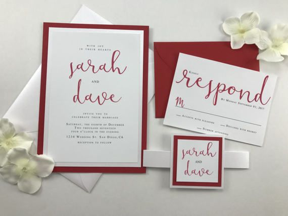 Complete Wedding Invitation Bundle White And Red By Kimkimdesigns