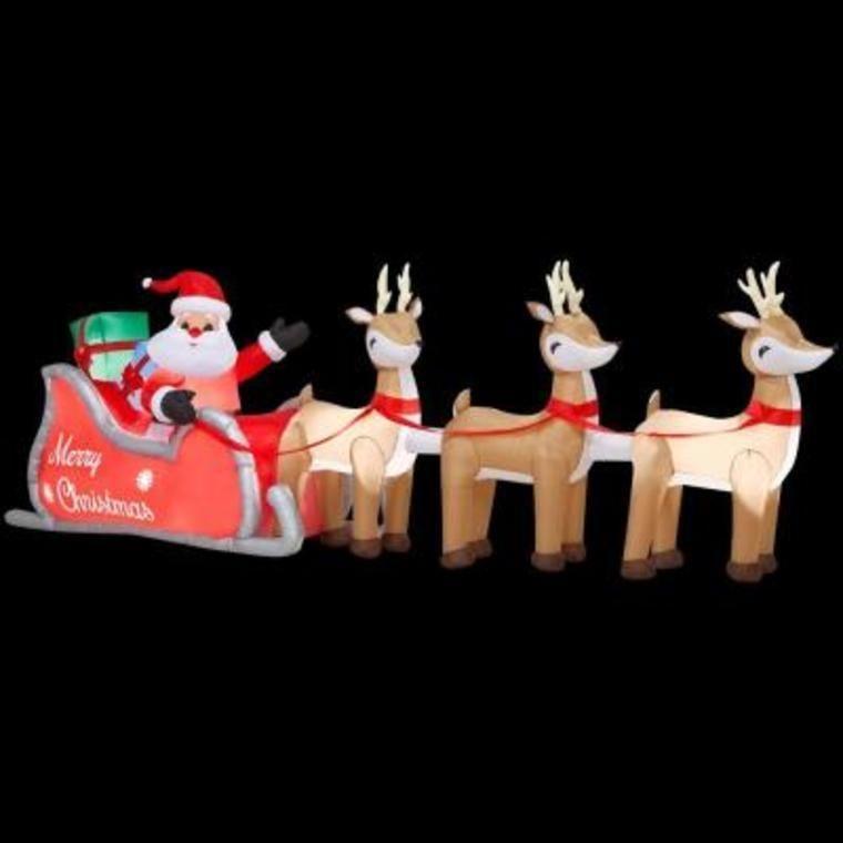 LONG 16' X 5.9' CHRISTMAS SANTA CLAUS SLEIGH REINDEERS OUTDOOR YARD  DECORATION - LONG 16' X 5.9' CHRISTMAS SANTA CLAUS SLEIGH REINDEERS OUTDOOR YARD