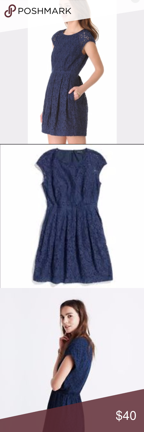 Lace dress navy blue  Madewell navy blue lace dress medium  Madewell Madewell dresses