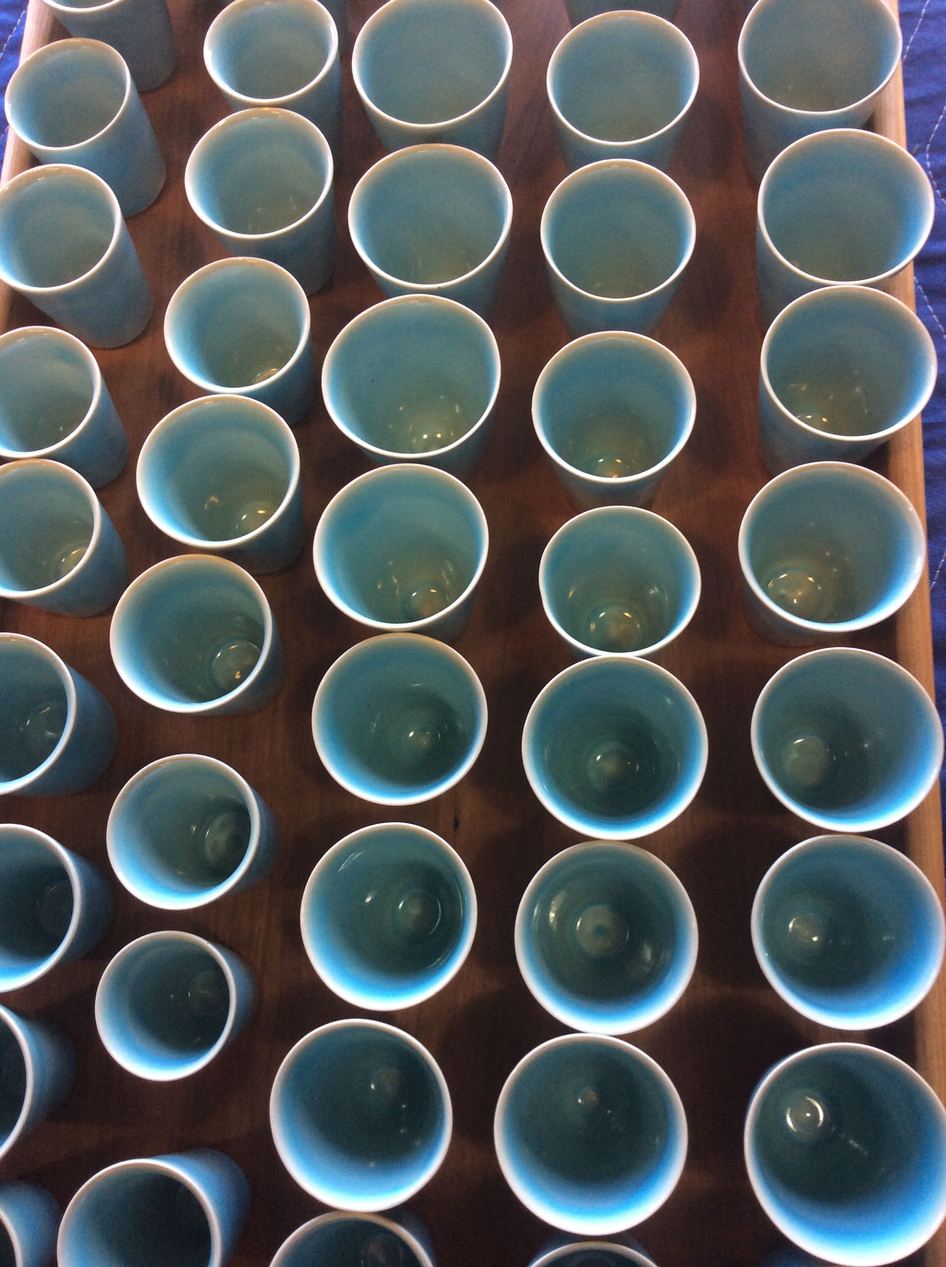 Cassidys blue sky shot cups pottery hand decorated