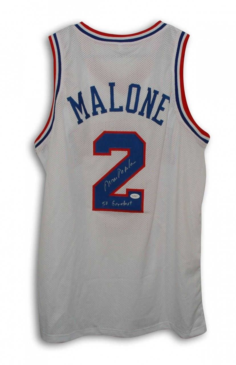 "AAA Sports Memorabilia LLC - Moses Malone Philadelphia 76ers Autographed White Throwback Jersey Inscribed ""50 Greatest"", $224.95 (http://www.aaasportsmemorabilia.com/nba/philadelphia-sixers/moses-malone-philadelphia-76ers-autographed-white-throwback-jersey-inscribed-50-greatest/)"