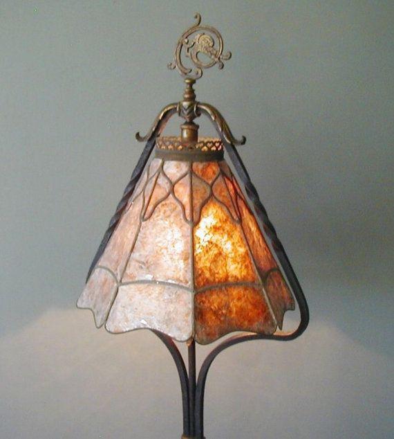 Antique Arts Crafts Mission Crest Lamp Co Chicago Wrought