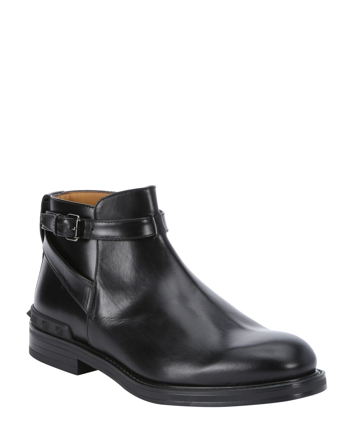 VALENTINO Black Leather Buckle Strap Ankle Boots'. #valentino #shoes #boots