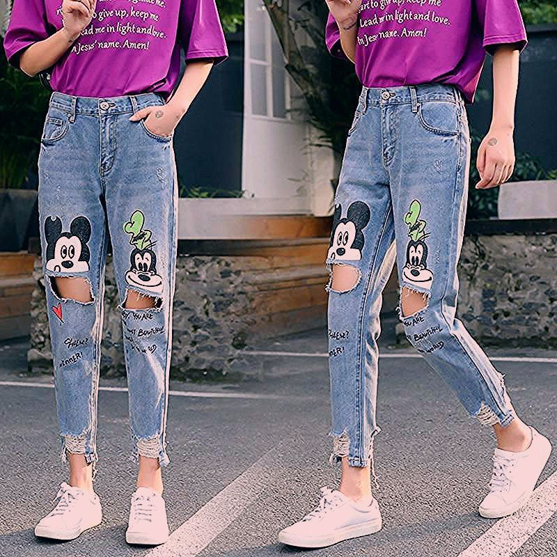 Photo of Mickey Mouse Printed Jeans Retro Denim Pants
