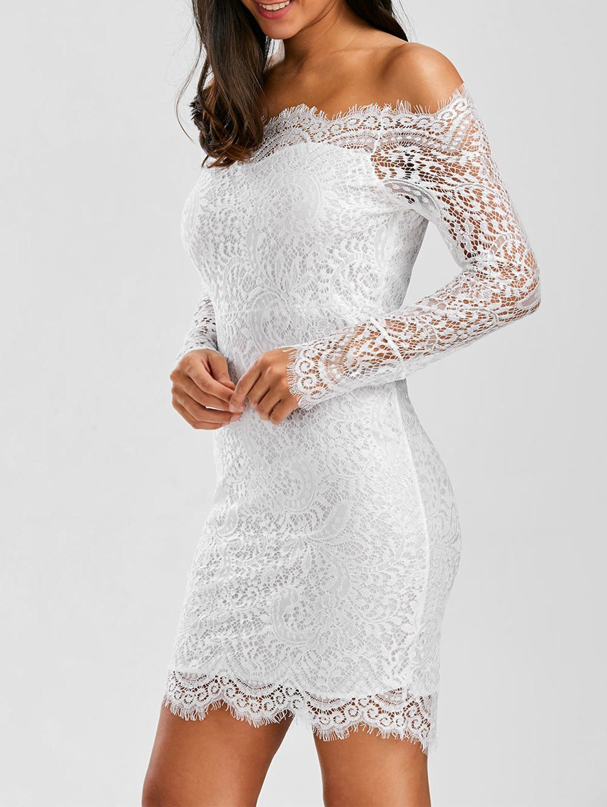 Off shoulder scalloped lace short summer wedding dress scalloped