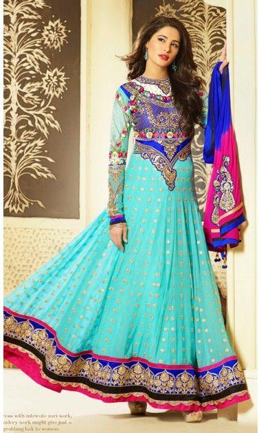 Fancy Blue, Cyan Blue & Pink Salwar Kameez