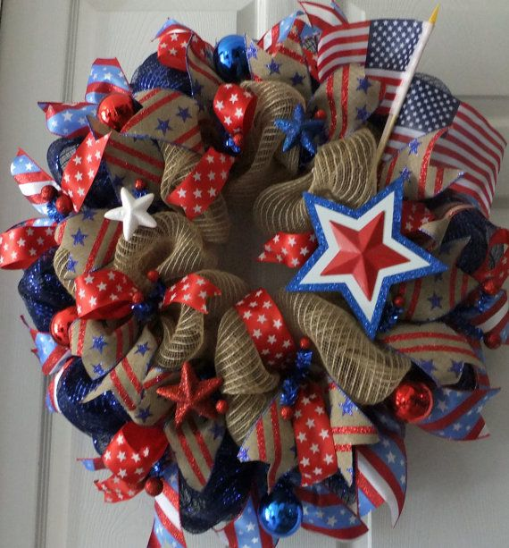 Patriotic Wreath Rwb Wreath Memorial Day Deco Mesh Wreath Fourth Of July Wreath Summer