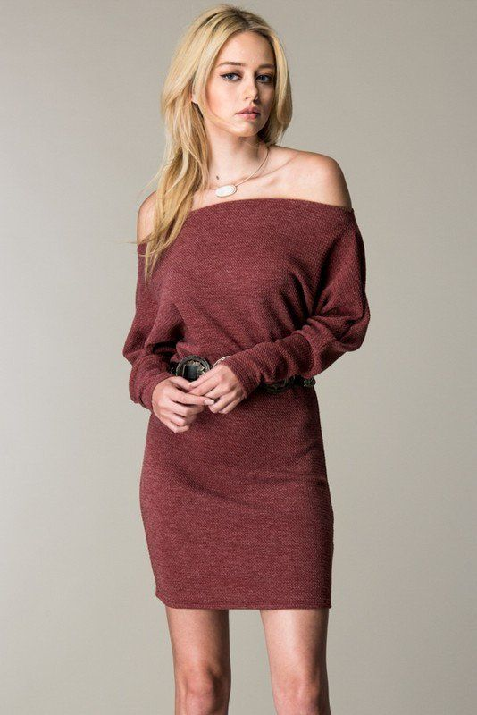 Tucson Off the Shoulder Sweater Dress - Burgundy | Wish list ...